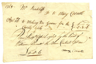 Bill for making gowns for the charity girls, Hitchin, Hertfordshire, 1768 | (Hertfordshire Archives DE/R/F209/12)