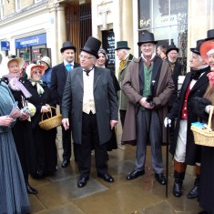 Greeting Mr Lancaster outside the Corn Exchange | Peter Rollason