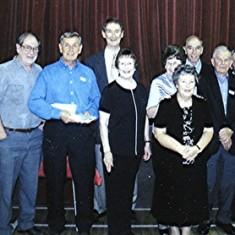 Boys School Reunion 'Committee': Left to right: June Fox, Irene Benn, Brian Cowland, Peter 'Podger' Fox, Ted Benn, Yvonne Sibley, Jean Smith, 'Mo' Fox (front), Dennis Sibley, Colin Smith, Darley Webb, Margaret & Geoff Webb.   Geoff Webb