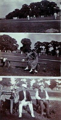 Three scenes of cricket on the common and Redbourn folk. | Geoff Webb