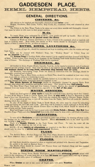 A cleaning notice for Gaddesden Place, 1908 | Hertfordshire Archives and Local Studies, Ref: E/EHI E18