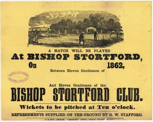 Advertising for cricket match 1862, [DE/He/B1/9;18] | Hertfordshire Archives and Local Studies