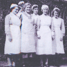 Staff at Crofton Grange School, now Hamels, 1940. Evelyn Piggott (right) started work there at 14 and hated it. She'd spent her childhood cooking and cleaning for her brothers and sisters. She worked 80 hours a week, but the food was good...