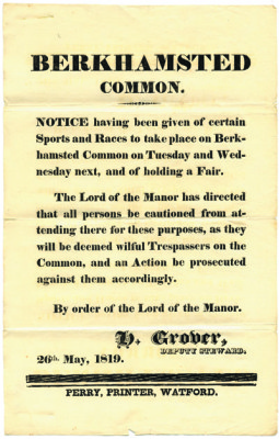 Berkhamstead Common notice 1819, [DE/Ls/B167] | Hertfordshire Archives and Local Studies