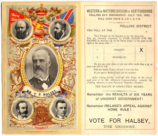 Election card for Frederick Halsey 1892   Hertfordshire archives and Local Studies Ref: D/EP F167
