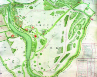 Brocket Hall Estate map showing the route of the race course. Ref D/EP/P15   Hertfordshire Archives and Local Studies