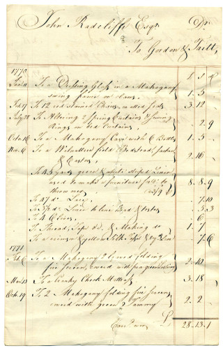 One of the many bills in the Delme Radcliffe collection showing a bill for a mahogany case with 6 bottles. Ref: D/ER/210 | Hertfordshire Archives and Local Studies