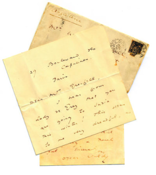 A photograph of a letter from Oscar Wilde to Lady Desborough from Paris, with the envelope.   Hertfordshire Archives and Local Studies