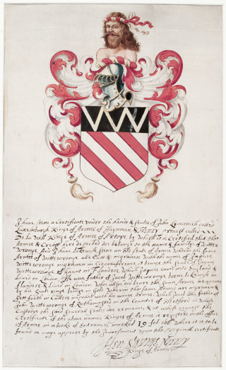 The heraldic explanation of the Wittewronge coat of arms | Hertfordshire Archives and Local Studies