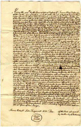 The document is written in Latin on parchment, with the great seal attached. The Rector was permitted to show the deed to any parishioner desiring to see it. | Hertfordshire archive and local studies