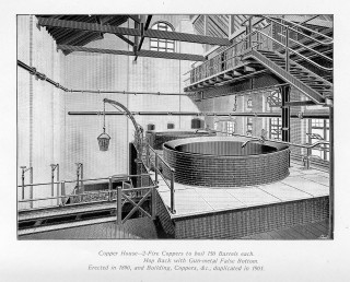 Copper House - Two Fire Coppers to boil 150 barrels each. Hop back with gun metal false bottom. Erected in 1890. | Hertfordshire Archives and Local Studies, Ref: D/ESb(Add i) /B6