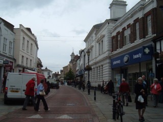 The High Street today, facing the same way.