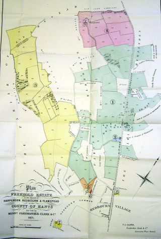 Plan of Nicholls Farm, Redbourn and other land in Harpenden and Flamstead | Hertfordshire Archives and Local Studies Sale particulars 1871