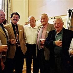 Left to right: Frank Douse, Maurice Webb, John Hill, Alan Waller, 'Jippy', John, Francis & Kate O'Hara | Geoff Webb