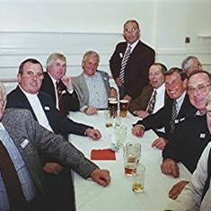 Left to right: John Dunckley, Graham Heard, John Bartlett, Graham Field, Peter Smith, Melvyn Austin, Peter 'Podger' Fox, John Luck and Alan Paynter | Geoff Webb