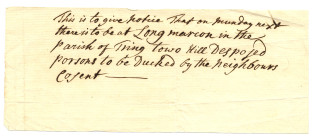 Notice of the ducking | Hertfordshire Archives & Local Studies Ref: D/EP/F272