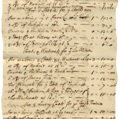 The Third Earl of Bath's expenses, 1711. The Earl's Footmen had the finest livery available and he spent the equivalent of nearly £2,000 on coats for them and the stablemen. | Hertfordshire Archives and Local Studies, Ref: D/ENa A44