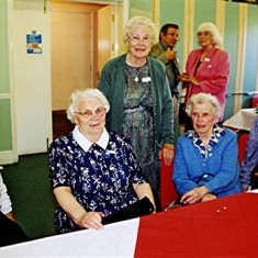 Left to right: Doll Elsom, Gladys Fox, Phyllis Blake, Monica Reed, Edna Blake. Roger May and Alice Robertson are in the background | Geoff Webb