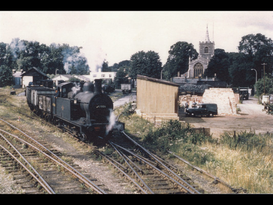 A 'Jinty' tank engine on daily shunting duties in 1962.   Photographer unknown, lent by Three Rivers Museum