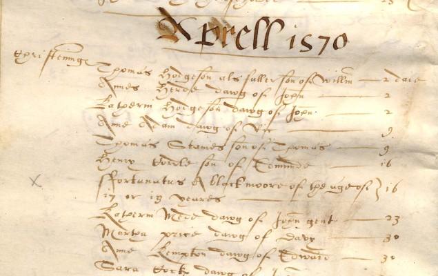 Fortunatus, Cheshunt Baptism Register, 1570 | Hertfordshire Archives and Local Studies