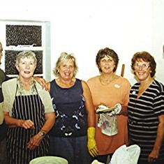 Boys School Reunion Helpers. Left to right: Podger Fox, Lily Cowland, Anne Woodstock June Fox, Margaret Webb, Brian Cowland. | Geoff Webb