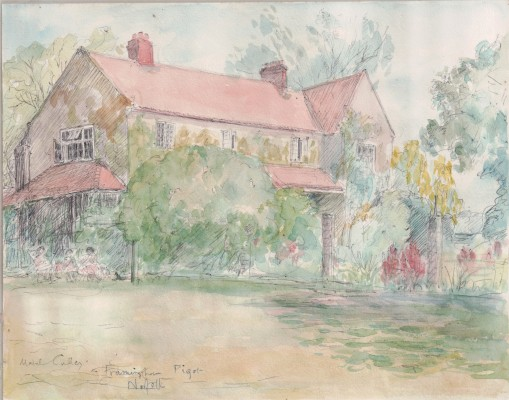 Framingham Pigot, Norfolk - an unfinished watercolour | Miss Mabel Culley