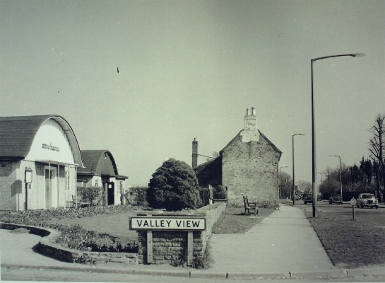 Goffs Oak Village Hall, 1967, with the Comrades Club just to it's right, and a now demolished cottage in the center-right   Iain Bickerton