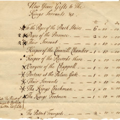Sums expended on New Year's gifts to the King's servants by Countess Cowper in 1714 | Hertfordshire Archives and Local Studies, Ref: D/EP A5