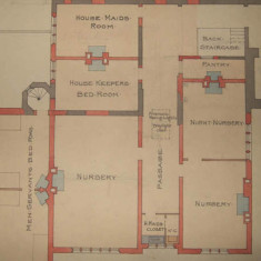 19th century plans of Gilston Park show the servants' bedroom strategically placed next to the nursery and well away from the parents. | Hertfordshire Archives and Local Studies, Ref: D/EBo P7