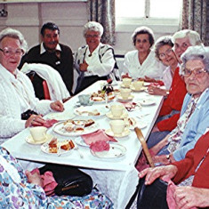 Left to right: Lily Austin, June Honeywood, Ray Webb, Frances Pidgeon, Gladys and Evelyn Austin, Peg Field and Ivy and Eileen Austin | Geoff Webb