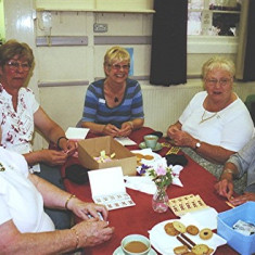 (Left to right): Doris Elsden, Gill Palmer, Christine Dickinson, Maureen Stevens, Audrey Fairall. | Geoff Webb