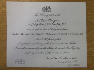 Grenfell's DSO certificate