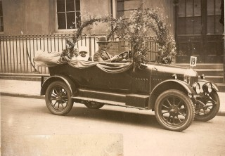 Harry Carrington with his daughter Beryl in his Morris