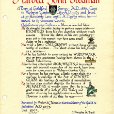 Harold Stedman's page of the Welwyn Craftworkers Guild Book | HALS
