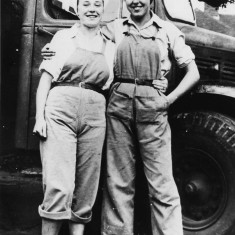 Land Girls at Hatfield Hyde: Left, unknown. Right, Rosie Ponde, 1947-1949. | Local Studies Image Collection