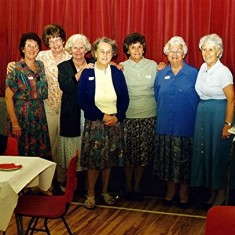 Girls School Reunion Helpers, left to right: Margaret (Axtell) Webb, Jean (Daniels) Smith, Olive (Peacock) Fellowes, Doris  (Pacey) Walker, Betty (Peacock) Henry, Ruth (Tingey) Smee, Stella (Coote) Williamson. | Geoff Webb