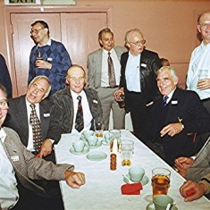 Rear, left to right: 'Podger' Fox (back to camera), Harvey Franks, Jim Burrows, Doug and Eric Ratcliffe, Frank Douse. Front, left to right: Mick Chatfield, Maurice Webb, Ken Hedges, Ron and Vic Henry. | Geoff Webb