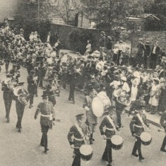 Army Day in Hertford, staged as part of the town's celebrations to mark Queen Elizabeth II's Silver Jubilee in 1977. The photograph shows No. 5 (Herts) Company, 5th Royal Anglian Regiment TAVR, plus the 5th Battalion band marching through Hertford for the first time since the regiment received the Freedom about seven years previously. The Jubilee parade had special significance for the company's commanding officer, Major Colin Albany, for, as a drummer boy, he took part in the Queen's Coronation parade | Hertfordshire Archives & Local Studies (photo: Herts Mercury)