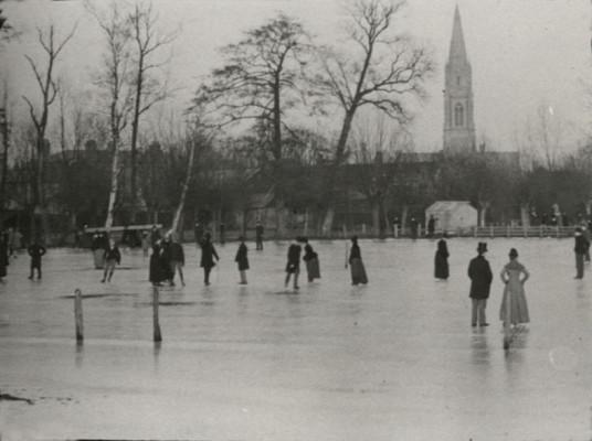 Ice skating in Hertford, 1880s | Hertfordshire Archives & Local Studies [Arthur Elsden]