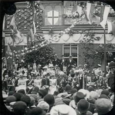 The Lord Mayor planting an oak tree at Old Cross, Hertford. Sir George Faudel Phillips, of Balls Park, was Lord Mayor of London in 1897, the year of Queen Victoria's Diamond Jubilee. The Borough of Hertford marked the occasion by conferring the Freedom of the Borough on Sir George, and by the planting of an oak before the library. The tree never really flourished and was later removed. Sir George contributed to the library considerably in its early days | Hertfordshire Archives & Local Studies (photo: Mr Elsden)