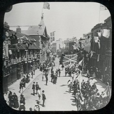 A parade in Fore Street, Hertford, to celebrate Queen Victoria's Golden Jubilee in 1887 | Hertfordshire Archives & Local Studies (photo: Mr Elsden)