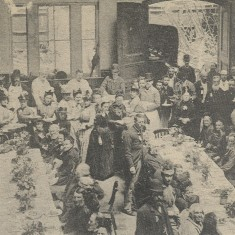 The old people of Hertford are entertained in the Corn Exchange as part of the celebrations to mark Queen Victoria's Golden Jubilee in 1887 | Hertfordshire Archives & Local Studies