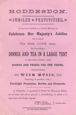 Poster advertising the festivities to celebrate Queen Victoria's Golden Jubilee in 1887 | Hertfordshire Archives & Local Studies