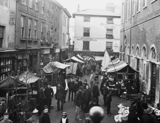 Hertford market in the 1880s | Arthur Elsden [Hertfordshire Archives and Local Studies]