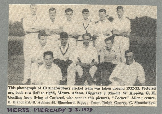 The Hertingfordbury Cricket Team of 1932-33 in the Herts Mercury 3/3/1978 | Local Studies Image Collection