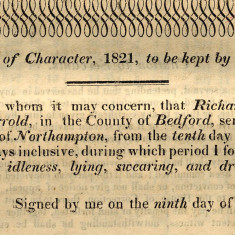 A certificate of Character | Hertfordshire Archives and Local Studies