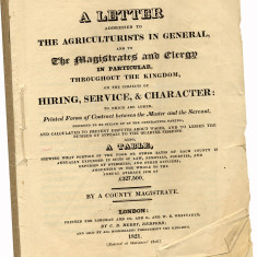 This Hiring Service Character pamphlet from 1821 was made up of contracts to avoid arguments and lessen court cases. | Hertfordshire Archives and Local Studies, Ref: 61720