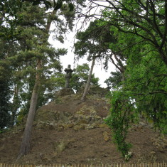 Fuji-yama mound, built with the earth from excavating the lakes. You used to be able to walk to the top via stone and wooden steps but it has had to be fenced off because the extremely dry weather (Spring 2011) has made it unstable. | Fiona MacDonald