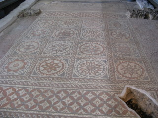 The mosiac floor, excavated 1931-32 by Dr Tessa Wheeler and Dr Norman Davey