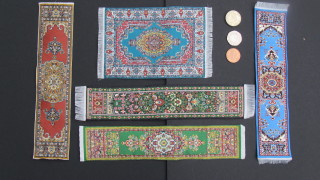 Tiny 1/12 scale woven Turkish rugs and runners